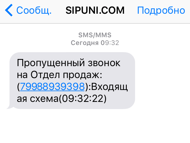 СМС-напоминание о пропущенном менеджеру